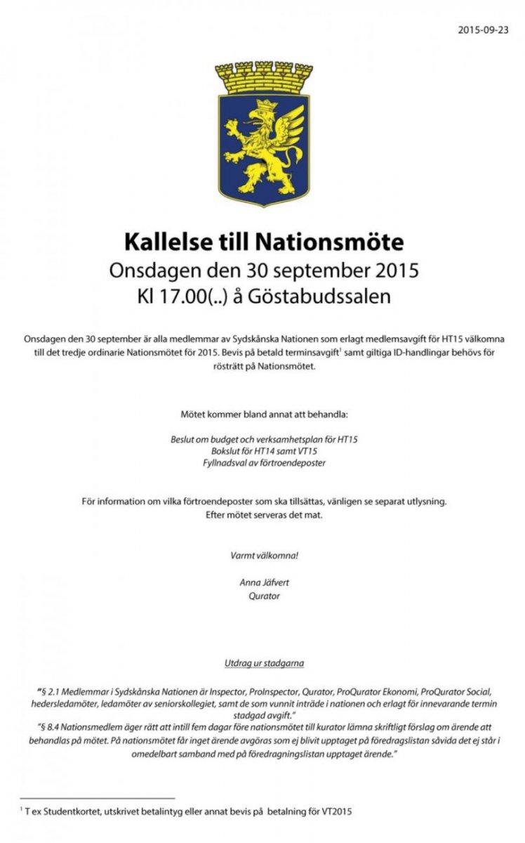 Kallelse Nationsmöte 30 september 2015