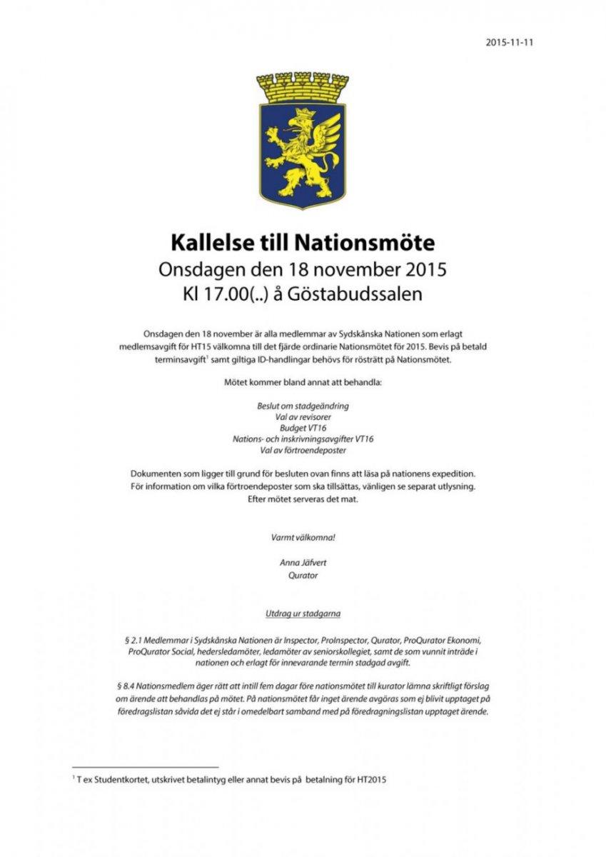 Kallelse Nationsmöte 18 november 2015
