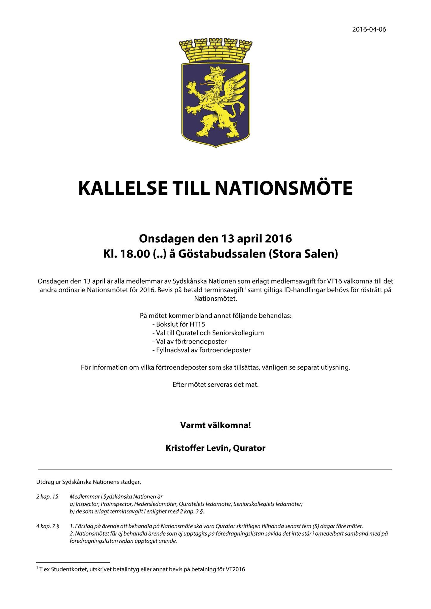 Kallelse till Nationsmöte 2016-04-13