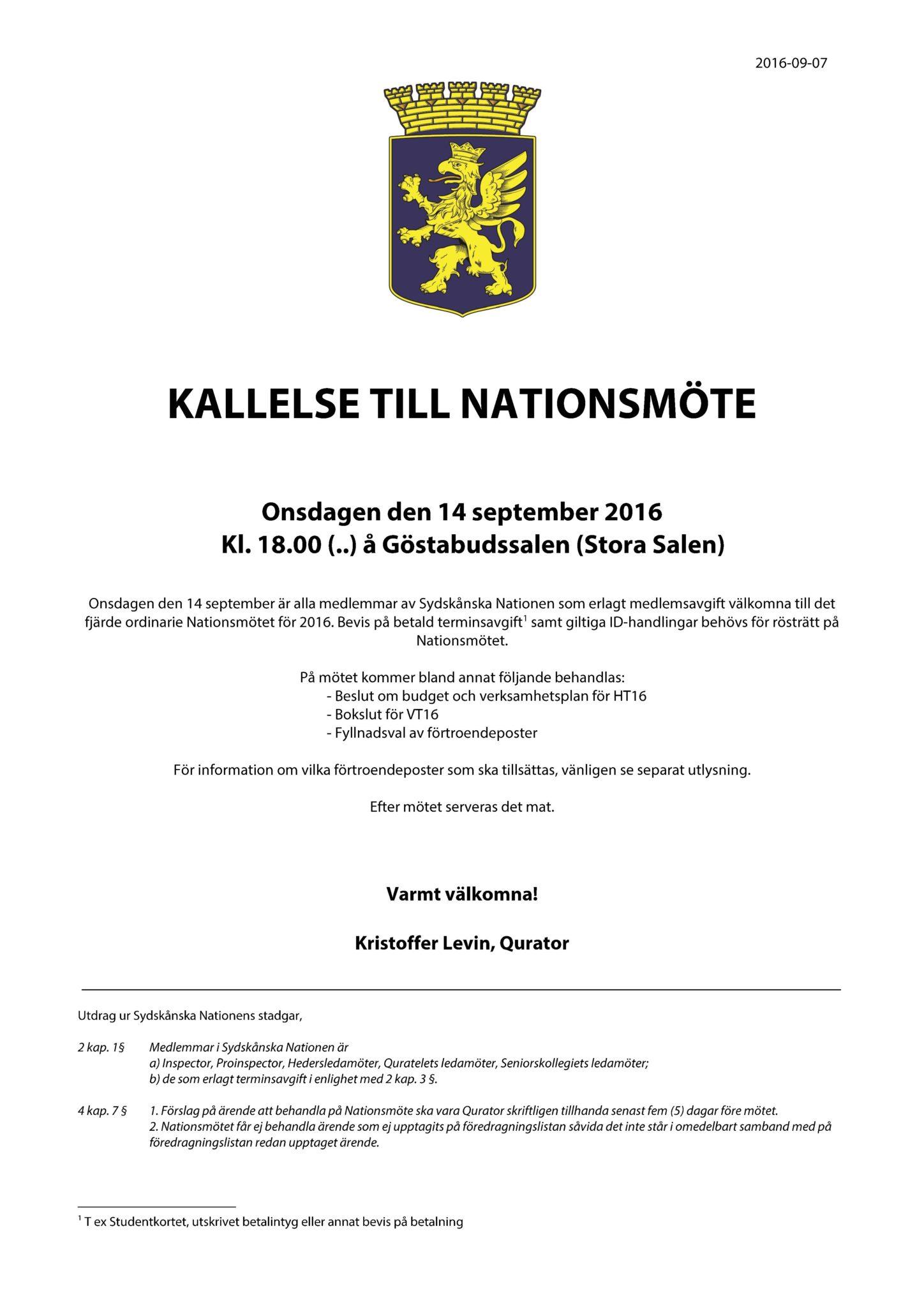 Kallelse 2016-09-14